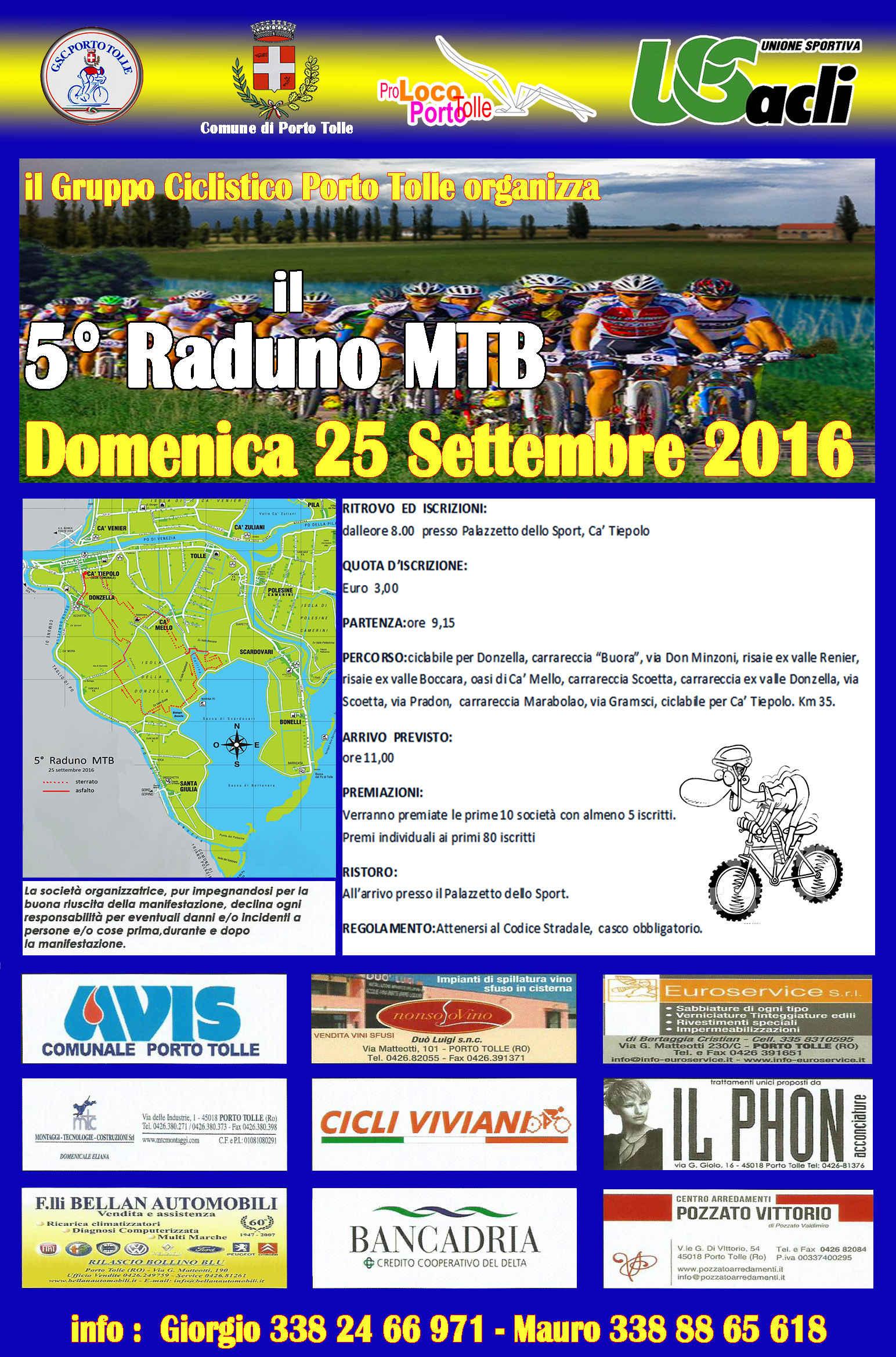 5° Raduno MTB organizzato da A.S.D. G.C. Porto Tolle - Domenica 25 settembre 2016