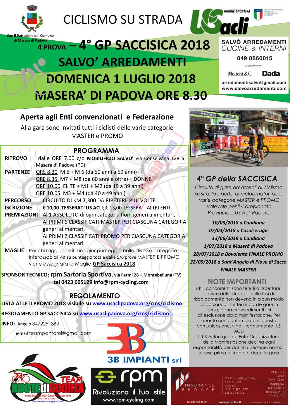Domenica 1 Luglio 2018 quarta prova G.P Saccisica - Maserà Di Padova (PD)